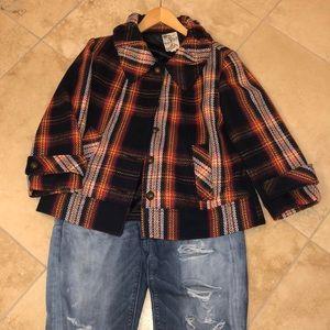 Tulle Plaid Wool Jacket NWOT